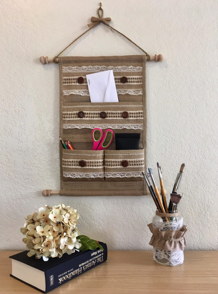Rustic Wall Decor Lace And Buttons Medium Size Wall Hanging